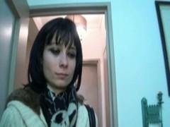 Darksome haired Amandine screwed