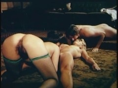 Classical threesome with hairy cunts and a big cock