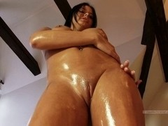 Hotty at home receives exposed and oily ideal bazookas and booty