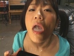 Bukkake gangbang with a sexy hot sweet Asian cum slut
