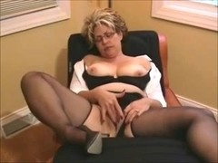 Toying my fat mature cunt in the armchair