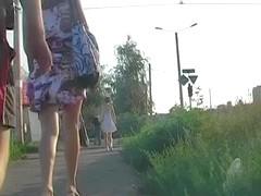 White belt in real street upskirt