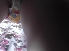 Funny panties and panty pad in the upskirt video