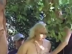 French guy face fucking two horny blondes in public