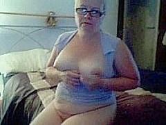 Mature fat blonde masturbating