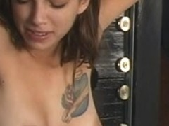 Delightsome dark brown receives arse whipped, clamps on her cute whoppers