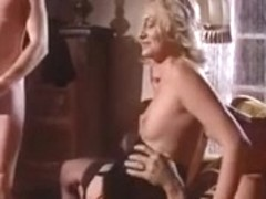 Lascivious blonde in a hard gangbang fuck