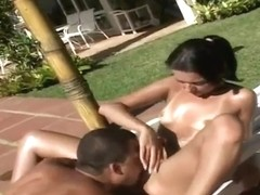 Latina girlie is banged very well near pool