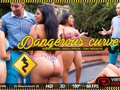 Kesha Ortega  Sheila Ortega  Tony Brooklyn in Dangerous curves - VirtualRealPorn
