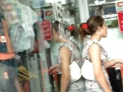 Trashy teens get videoed by a voyeur on the street