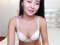 Asian in sexy Christmas lingerie teases solo