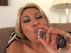 Pleasing Blond Cums All Over Her Sex Toy