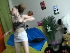 Legal Age Teenagers dancing with Panda turns into eager fuck