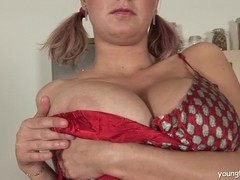 Pigtailed young busty Alice fuck a dildo
