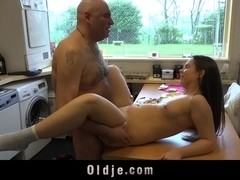 Inexperienced, young babe first fuck with an old man
