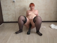 hot young beautiful bbw and a huge rubber dick! shaking big juicy butt