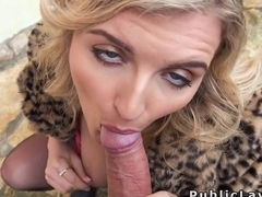 Blue eyed blonde sucks cock outdoors