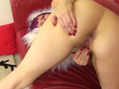 Penny Brooks spreading pussy and ass on sofa