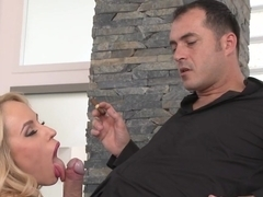 Chubby blonde Claudia Downs gets her ass drilled