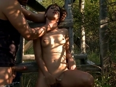 Mature lady tied up and banged hard outdoor