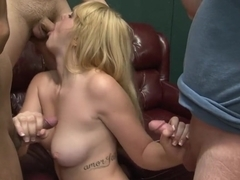 Horny pornstar Emma Ash in crazy gangbang, blonde xxx scene