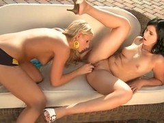 Barbie White and Naomie having a hot lesbian affair outside on fresh air