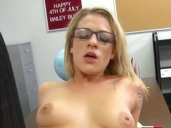 Blonde student gets nailed on the desk