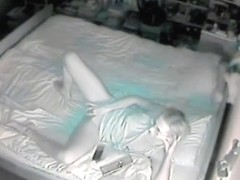 Hot Polish wife watching porn and masturbating on spy cam