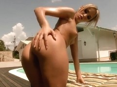 Tanned Aleska Diamond is fingering her ass