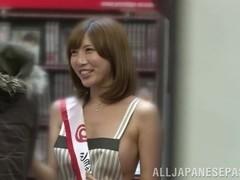 Lusty Japanese milf Julia fucks in a public place