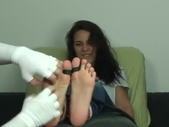 Adorable girl next door submits to tickling Feet