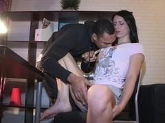 Ebony cock involves the brunettes ass into hard sex
