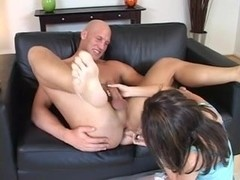 Bald guy gets fucked and sucked by his gf