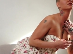 Tattooed Brunette Jezebelle Bond Teases And Fingers Herself
