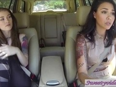 Misha Cross and Dana Vespoli lick eachother's pussy in car