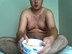bulky juvenile boy-friend eating ice spunk and cake exposed