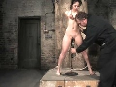 LeiLani boob tied suspended and clamped. Pussy flogged and made to cum