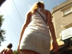 Sexy up skirt video of a white denim covered fat ass