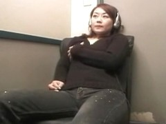 Horny Japanese woman masturbating her nice hairy cunt