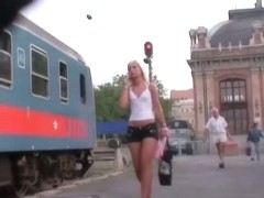 Sexy ass blonde in jean shorts in street candid video