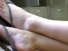 Candid Blonde College Teen Legs and Feet at library