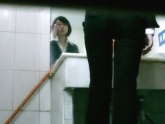Smooth bitch with sexy pussy is pissing in the toilet