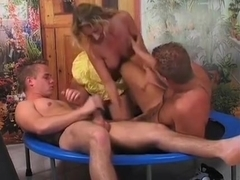 Lusty Blonde Broad Gives Head In This Steaming Hot Threesome