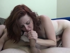 Horny pornstar Emma Evins in crazy facial, redhead sex movie