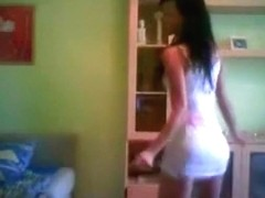 Spanish girl dancing at home