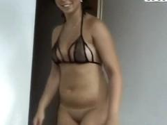 Black ahired whore Krystinka plays with vibrator