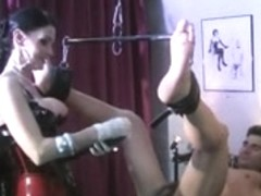 Domme With Jock Fucking And Double Fisting Her Sub