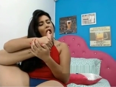 Latina Cam Girl Teases And Licks Toes (Part 2)