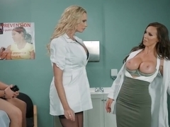 Doctor Nikki Benz and nurse Briana Banks treating a big stuck dick
