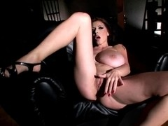 Merilyn Sekova massive pantoons in leather outfit